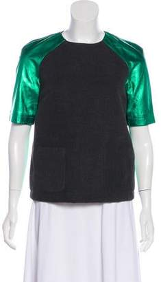 Opening Ceremony Leather Colorblock Top