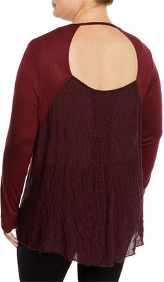 XCVI Ridley Gingham-Back V-Neck Long-Sleeve High-Low Jersey Top, Plus Size