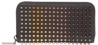 Christian Louboutin Zip Around Spike Stud Leather Wallet - Mens - Black
