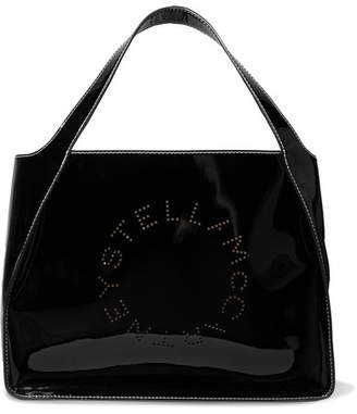 Stella McCartney Perforated Faux Patent-leather Tote - Black