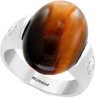 Effy Men's Tiger's Eye & White Topaz (1-1/10 ct. t.w.) Ring in Sterling Silver
