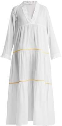 Santorini DAFT V-neck embroidered cotton dress