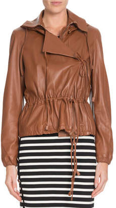 Altuzarra Livila Hooded Drawstring-Waist Calf Leather Jacket