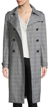 Elie Tahari Watson Plaid Trench Coat