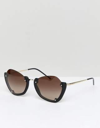 Emporio Armani round sunglasses with half frame