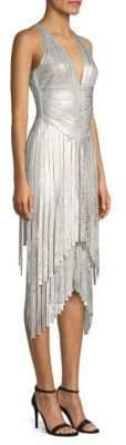 Herve Leger Metallic Foil Fringe Bodycon Dress