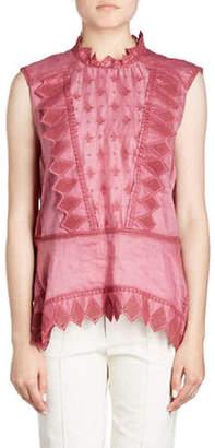 Isabel Marant Nust High-Neck Sleeveless Embroidered Blouse