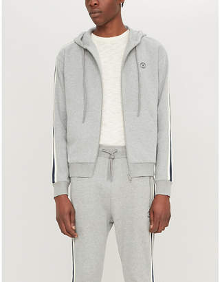 The Kooples Stripe-trim cotton-jersey hoody