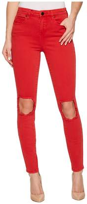 Blank NYC Mid-Rise Distressed Skinny in Better Off-Red Women's Casual Pants