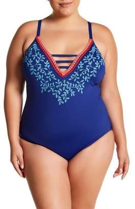 La Blanca Swimwear Leaf It Halter One Piece (Plus Size)
