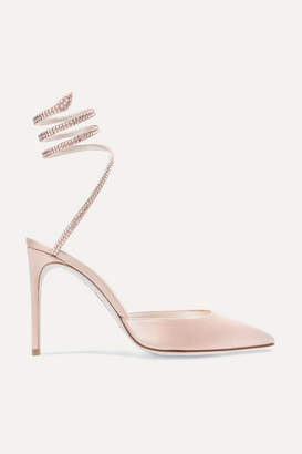 Rene Caovilla Cleo Crystal-embellished Satin Pumps - Neutral