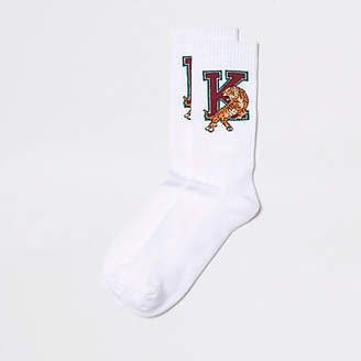 River Island White college tiger print socks