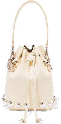Fendi Mon Tresor Embellished Leather Bucket Bag - Yellow