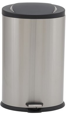 Household Essentials Design Trend 40 L Oval Step Can, Stainless Black Lid