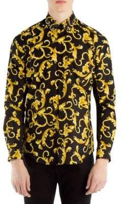 Versace Embellished Baroque-Print Button-Down Shirt