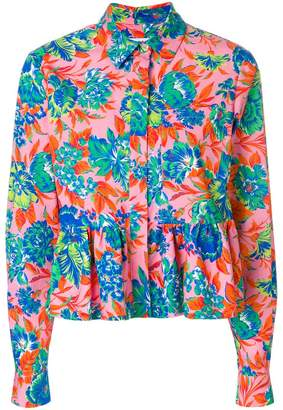 MSGM tropical jungle print peplum shirt