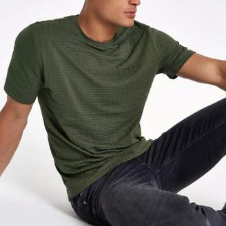 River Island Khaki waffle slim fit short sleeve T-shirt