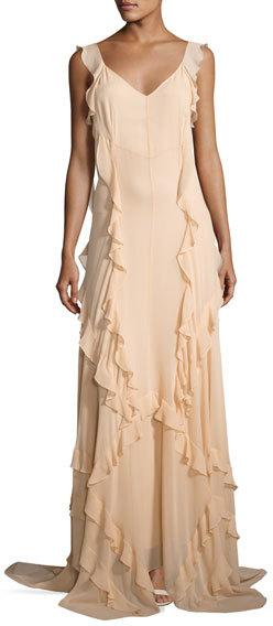 Elizabeth And JamesElizabeth and James Catherine Sleeveless Silk Ruffle Gown, Eggshell