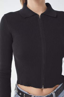 Urban Outfitters Toni Collared Zip-Front Sweater