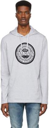 Balmain Grey Coin Logo Hoodie