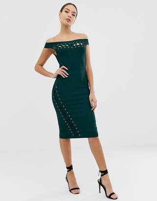 Lipsy bandage midi dress with lace up detail in green