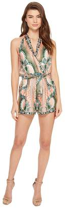 Nicole Miller La Plage By Tropical Peacock Silk Cover-Up Romper Women's Swimsuits One Piece