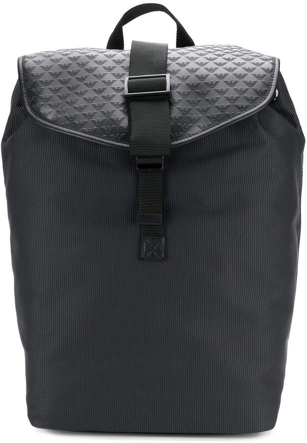 Emporio Armani embossed buckle backpack