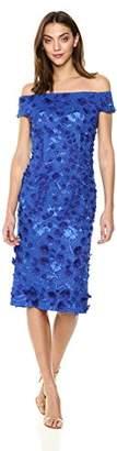 Carmen Marc Valvo Women's Off The Shoulder Novelty Dress/ 3D Flowers
