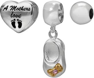 """Individuality Beads 14k Gold Over Silver & Sterling Silver """"Mothers Love"""" Heart Bead & Pink Crystal Bootie Charm Set"""