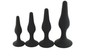 Bbshop 4PCS Silicone Soft Butt -Plug -Anal -Toys-Black
