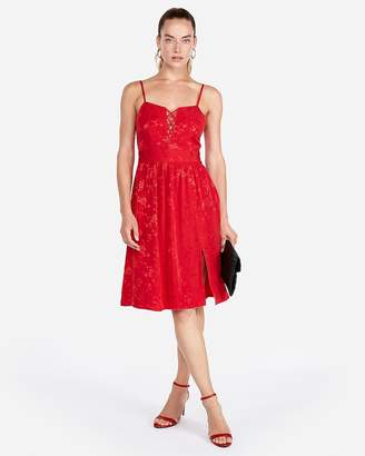 Express Lace-Up Front Fit And Flare Dress