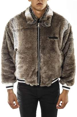 Represent REPRESENT Brown Faux Leather Bomber Jacket