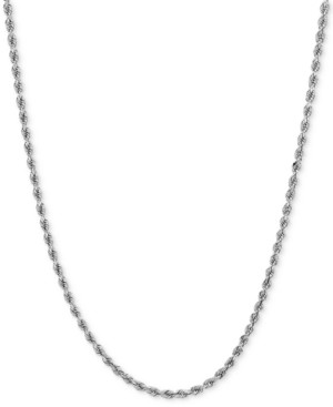 da0ef12579086 Polished Rope (1-3/4mm) Chain Necklace in 14k White Gold
