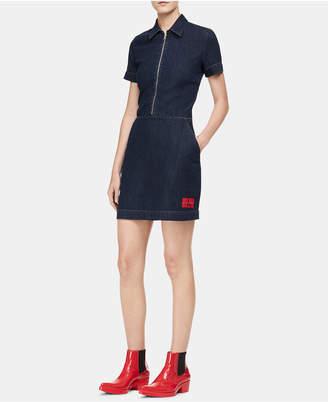 Calvin Klein Jeans Cotton Zip-Front Denim Dress