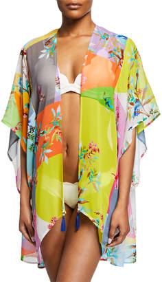 Johnny Was Ember Colorblock Short Kimono Coverup