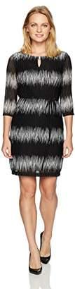 Sandra Darren Women's Petite 1 Pc 3/4 Sleeve Ombre Mesh Knit Key Hole Belted Sheath Dress