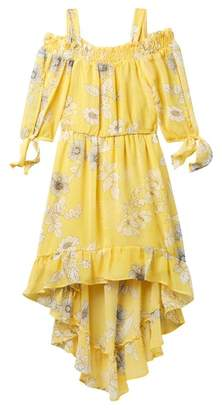 My Michelle mymichelle Floral Off-the-Shoulder Hi-Lo Dress (Big Girls)