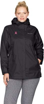 Columbia Women's Plus Sizetested Tough in Pink Rain Jacket Ii