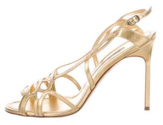 Manolo Blahnik Metallic Slingback Sandals