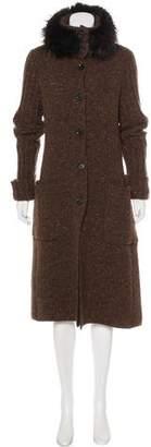Valentino Fox Fur-Trimmed Cardigan