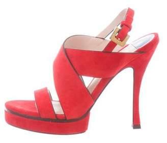 b6a5edbaa68 Stuart Weitzman Red Suede Women s Sandals - ShopStyle
