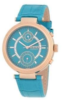 Versace Stainless Steel Swarovski Studded Leather Strap Watch