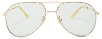 Gucci Aviator Metal Sunglasses - Womens - Green