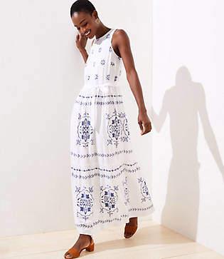 LOFT Mosaic Tiered Maxi Dress