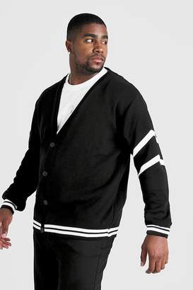 boohoo Big & Tall Varsity Arm Stripe Knitted Cardigan