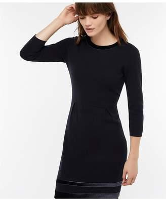 Monsoon Estella Velvet Trim Smart Dress - Navy