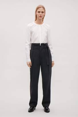 Cos BELTED WOOL TROUSERS