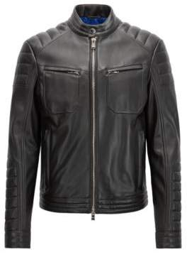 BOSS Hugo Regular-fit biker jacket in lambskin padded detailing 38R Black