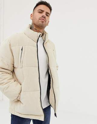 Bershka cord puffer jacket in beige