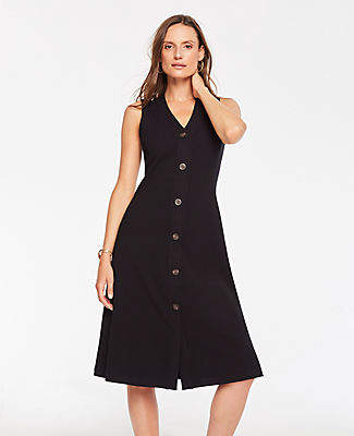 Ann Taylor Petite Button Front Ribbed Knit Flare Dress